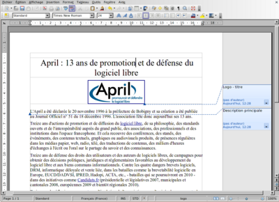 Capture d'écran de LibreOffice