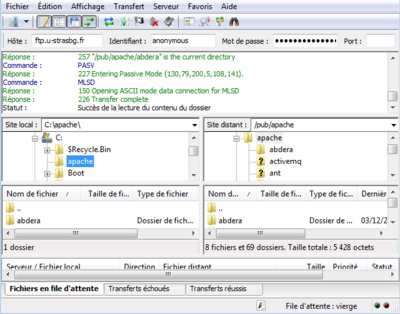 Capture d'écran de FileZilla