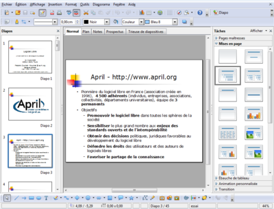 Capture d'écran de LibreOffice Impress